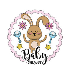 Baby shower emblem to welcome a child vector