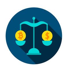 bitcoin dollar rate circle icon vector image