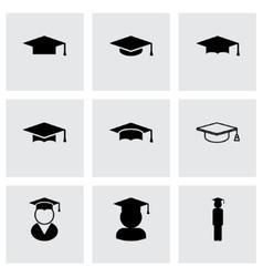 black academic cap icon set vector image vector image