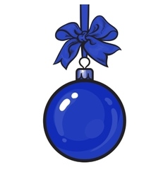 Blue christmas balls with ribbon and bows vector