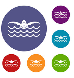 butterfly swimmer icons set vector image vector image