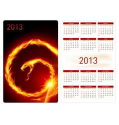 Calendar twenty thirteen fire snake for design vector