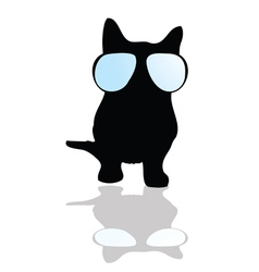 Cat with glasses silhouette vector