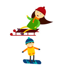Christmas kids playing winter games skiing vector
