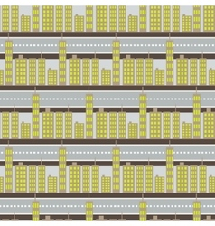 City skyscrapers and road street seamless pattern vector