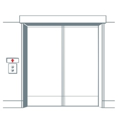 Close elevator and button in line style vector