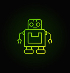 cute green robot icon in thin line style vector image vector image