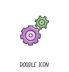 Doodle icon of gears Technology mechanics team vector image vector image