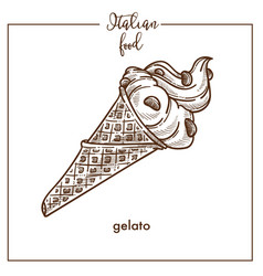Gelato ice cream wafer cone sketch icon for vector