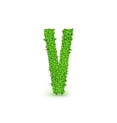 Green Leaves font V vector image vector image