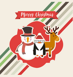 Happy merry christmas characters vector