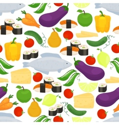 Healthy food seamless background pattern vector image vector image