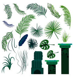 jungle leaves and old ruin columns isolated vector image