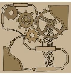 Mechanism background with cogwheels and gears vector