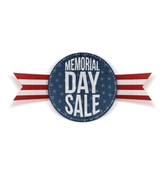 Memorial day sale festive sign and ribbon vector