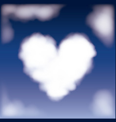 Nightly background with cloud in shape of heart in vector