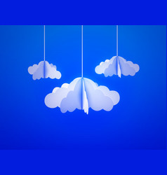 paper cloud in origami style on the sky background vector image vector image