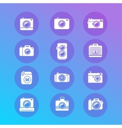 photo camera retro and new icon set vector image