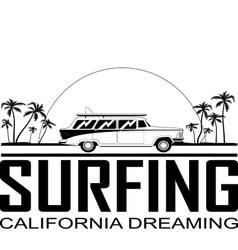 Retro surfboard car vector