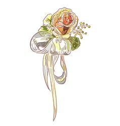 rose with a silk bow vector image vector image