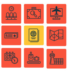 Set of 9 traveling icons includes road map vector