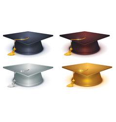 Silver gold and black mortarboard vector