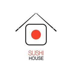 Sushi house idea vector