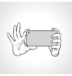 Taking Selfie Photo on Smart Phone concept vector image