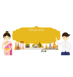 thailand landmarks people in traditional clothing vector image