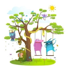 Tree friends animals birds monsters bees in sunny vector