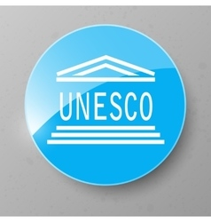 UNESCO Flag Button vector image vector image