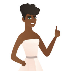 Young african-american fiancee giving thumb up vector