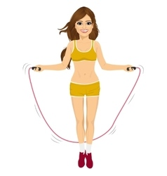 Young fitness woman jumping rope vector