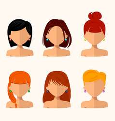 Young pretty women pretty faces with different vector