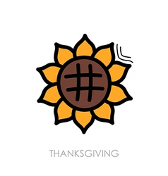 Sunflower icon harvest thanksgiving vector