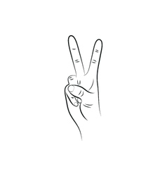Victory hand sign outline vector