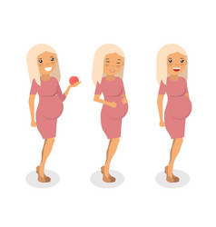 Pregnant women flat vector