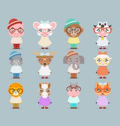 Geek hipster cute animal boy girl cubs mascot vector