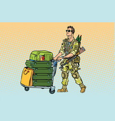 Military tourism the mercenary with a luggage vector