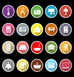 Home furniture icons with long shadow vector