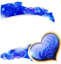 Blue valentines heart and petals vector