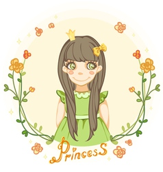 Princess girl in the floral frame vector
