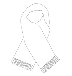 White winter scarf outline drawings vector