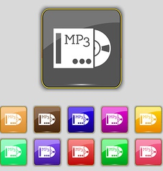 Mp3 player icon sign set with eleven colored vector