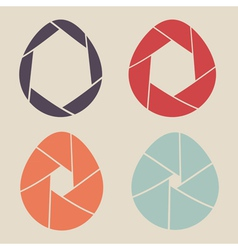 Shutter eggs icon set vector
