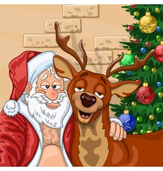 Selfie of Santa Claus with reindeer vector image