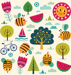 Summer pattern with bees vector