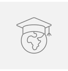 Globe in graduation cap line icon vector image