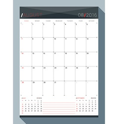 August 2016 design print template monthly calendar vector