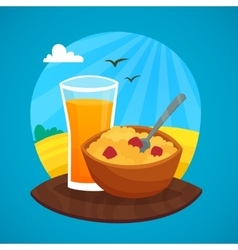 Breakfast design concept at rural landscape vector